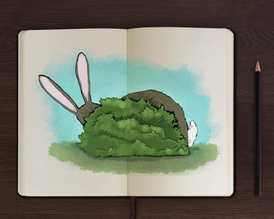 Children's book illustration of a rabbit
