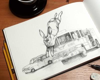 jumping rabbit children's book illustration