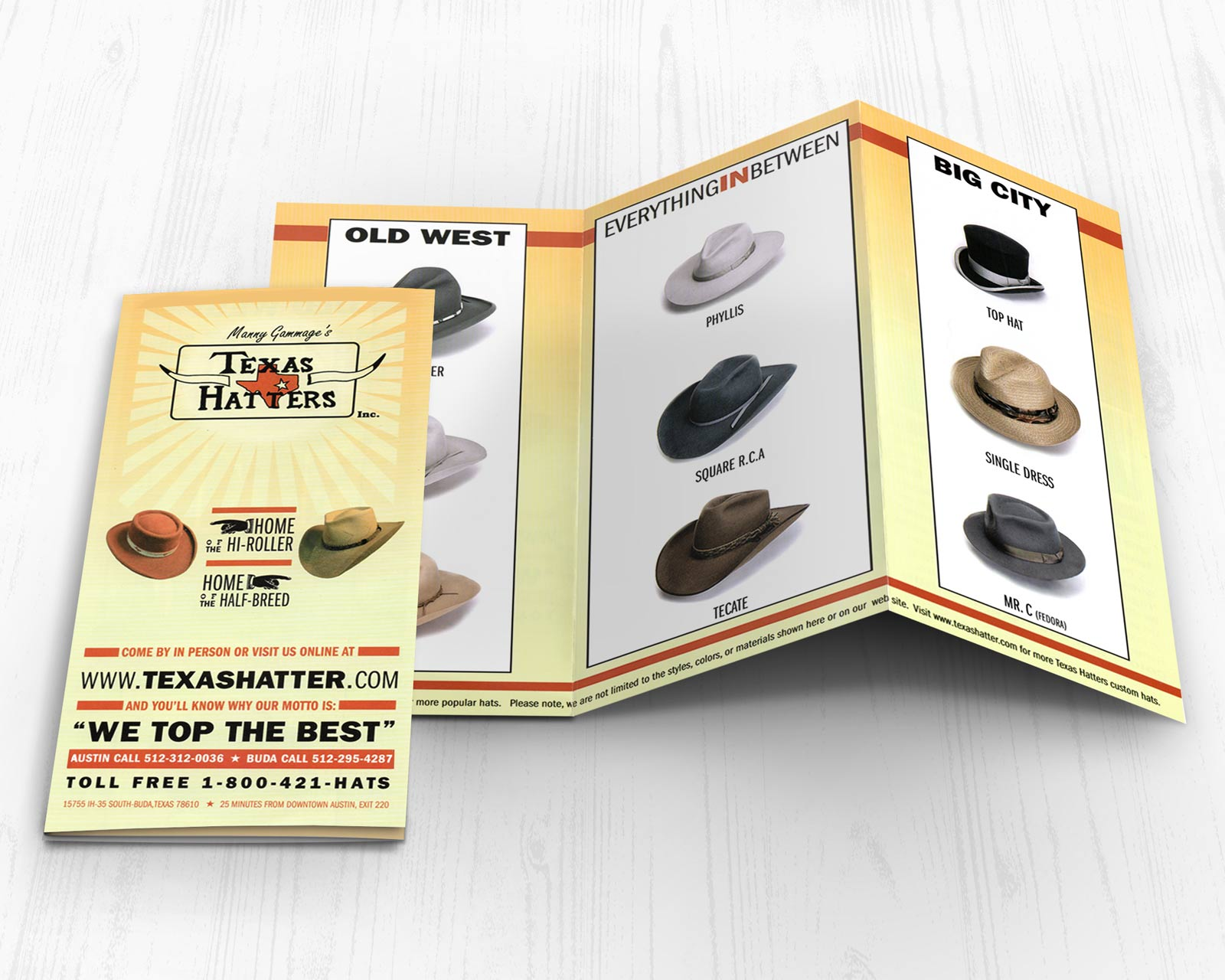 Texas Hatters Custom Trifold Brochure Design
